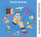vacation and tourism concept... | Shutterstock .eps vector #1012924723