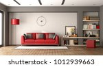 modern living room with red... | Shutterstock . vector #1012939663