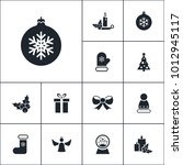 vector set of winter icons.... | Shutterstock .eps vector #1012945117