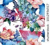 bouquet flower patterm in a... | Shutterstock . vector #1012956517
