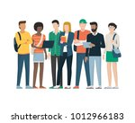 multiethnic group of young... | Shutterstock .eps vector #1012966183