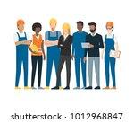 industrial workers standing... | Shutterstock .eps vector #1012968847