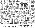 vintage monochrome marine icons ... | Shutterstock .eps vector #1012977913