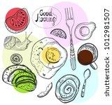 breakfast time illustration ... | Shutterstock .eps vector #1012981507