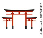 Stock vector vector color flat shinto icon big japanese red torii gate 1012983337