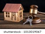 house  key  judge hammer on a... | Shutterstock . vector #1013019067