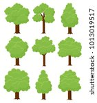 trees different cartoon shapes... | Shutterstock .eps vector #1013019517