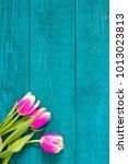 beautiful tulips on wooden... | Shutterstock . vector #1013023813
