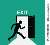 sign exit. silhouette man runs... | Shutterstock .eps vector #1013026303