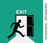 sign exit. silhouette man runs... | Shutterstock .eps vector #1013026303