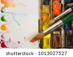 well used artists watercolour... | Shutterstock . vector #1013027527