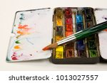 well used artists watercolour... | Shutterstock . vector #1013027557