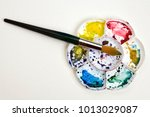 artists flower shaped style... | Shutterstock . vector #1013029087