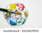 artists flower shaped style... | Shutterstock . vector #1013029093
