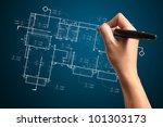 hand of business man draw... | Shutterstock . vector #101303173