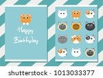 cute happy birthday card.... | Shutterstock .eps vector #1013033377