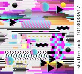 seamless pattern glitch design. ... | Shutterstock .eps vector #1013033617