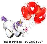 cute unicorn watercolor... | Shutterstock . vector #1013035387