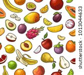 seamless pattern fruits. mango  ... | Shutterstock .eps vector #1013044633