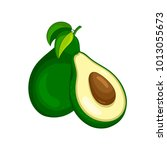 vector fresh fruit avocado... | Shutterstock .eps vector #1013055673