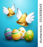 flying easter bells and eggs | Shutterstock .eps vector #1013058343