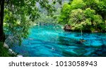 view of colorful lake in... | Shutterstock . vector #1013058943