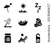 relax icons. set of 9 editable... | Shutterstock .eps vector #1013060617
