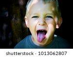 portrait of child boy showing... | Shutterstock . vector #1013062807