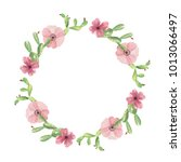 watercolor cactus cacti wreath... | Shutterstock . vector #1013066497