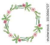 watercolor cactus cacti wreath... | Shutterstock . vector #1013066737