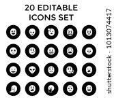 emoji icons. set of 20 editable ... | Shutterstock .eps vector #1013074417