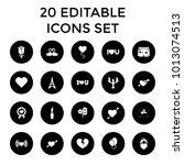 romantic icons. set of 20... | Shutterstock .eps vector #1013074513