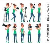 photographer female vector.... | Shutterstock .eps vector #1013076787