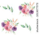 watercolor flowers seamless... | Shutterstock . vector #1013077573