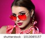 young beautiful playful woman... | Shutterstock . vector #1013085157