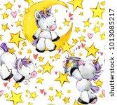 cute unicorn watercolor... | Shutterstock . vector #1013085217