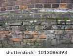 Very Old Pale Red Brick Wall A...