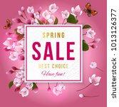 spring sale paper banner over... | Shutterstock .eps vector #1013126377