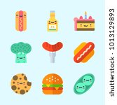 icons about food with broccoli  ... | Shutterstock .eps vector #1013129893