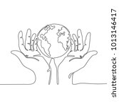 one line drawing of hands... | Shutterstock .eps vector #1013146417
