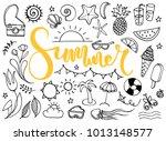 summer time doodles | Shutterstock .eps vector #1013148577