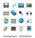 computer technology icons - stock vector