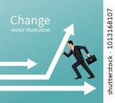 businessman change direction.... | Shutterstock .eps vector #1013168107