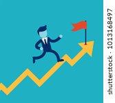 running towards the goal.... | Shutterstock .eps vector #1013168497