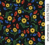 floral embroidery seamless... | Shutterstock .eps vector #1013170123