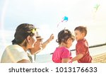 happy family with parents and... | Shutterstock . vector #1013176633
