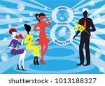 a man presents yellow mimosa... | Shutterstock .eps vector #1013188327
