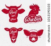 set of butchery logo  label ... | Shutterstock . vector #1013190103