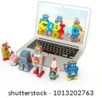 a team of robot toys learn... | Shutterstock . vector #1013202763