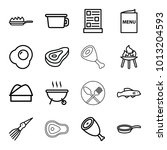 cook icons. set of 16 editable... | Shutterstock .eps vector #1013204593